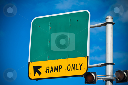 Road sign stock photo, Blank highway or road sign showing ramp only indication by Jose Wilson Araujo