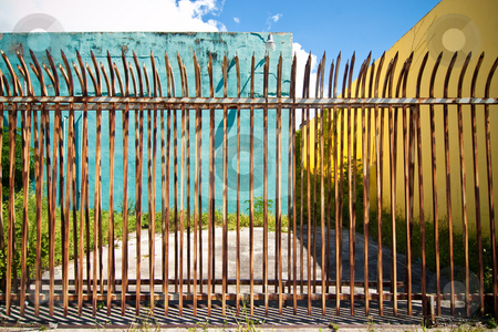 Fenced stock photo, Aged urban detail. Downtown abandoned area. by Jose Wilson Araujo