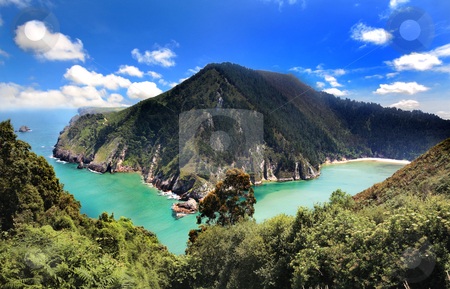 Paradise in Spain stock photo, Marvellous scenic of the sea and mountains in Asturias,Spain by Bernardo Varela