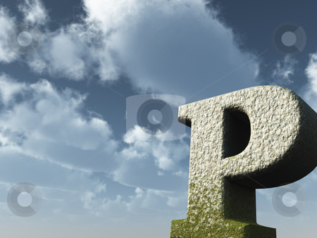 Big P stock photo, Letter p rock in front of blue sky - 3d illustration by J?