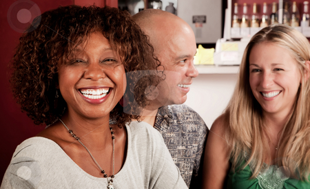 African American Woman with Friends stock photo, Smiling African American Woman in a Restaurant with friends by Scott Griessel