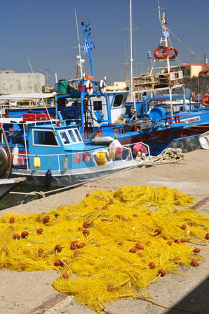 Fishing nets stock photo, Fishing nets. Port of Heraklion, Crete, Greece by Fernando Barozza