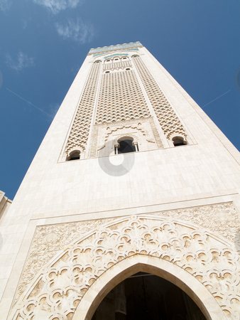 Tower of mosque in Casablanca stock photo, Tower of mosque in Casablanca. Blue sky summer day. by Tomasz Parys