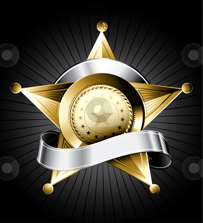 Sheriff Badge Design stock vector clipart, Golden sheriff badge design with a silver ribbon for text by Thomas Amby Johansen
