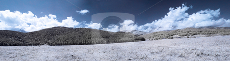 Infrared panoramic landscape stock photo, Infrared panoramic landscape in the pyrenees mountains in France by Laurent Dambies