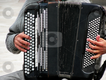 Accordion player stock photo, Accordion player performing in the city of Krakow Poland by Laurent Dambies