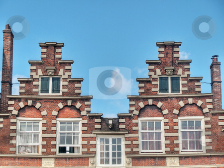 Typical Dutch houses stock photo, Typical Dutch houses in Amsterdam under blue sky hdr processed by Laurent Dambies