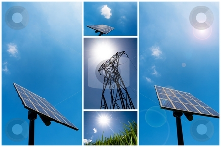 Solar energy collage stock photo, A collection of solar energy related pictures by Laurent Dambies