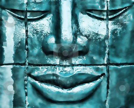 Zen statue stock photo, Zen statue made of stone with water dripping by Laurent Dambies