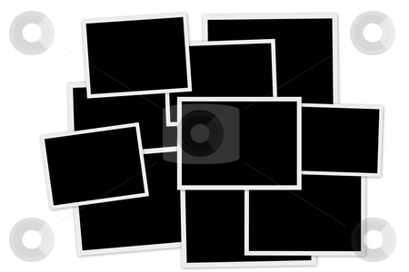 Empty photo frames stock photo, Pile of empty photo frames on white background by Laurent Dambies