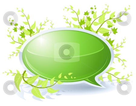 Floral bubble stock vector clipart, Floral theme with blank green bubble by Laurent Renault