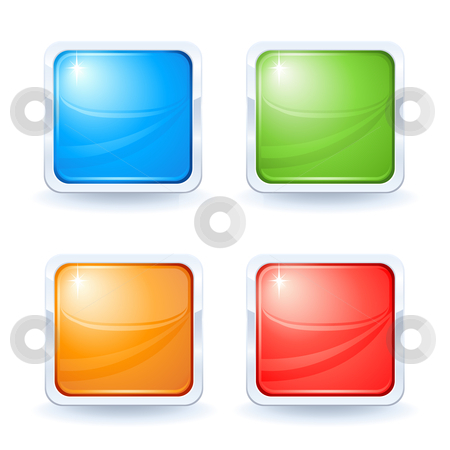 Four shiny buttons stock vector clipart, Four shiny buttons blue green orange and red by Laurent Renault