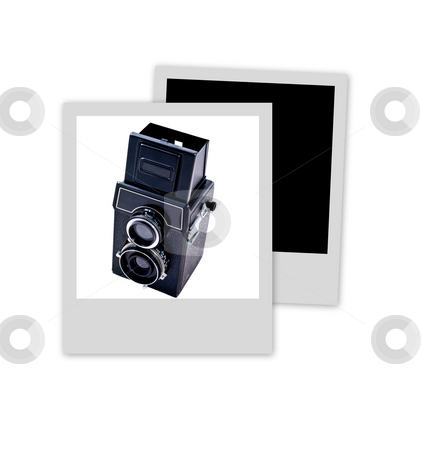 Pictures pile stock photo, Two polaroids with a medium format camera framed on the top one by Laurent Dambies
