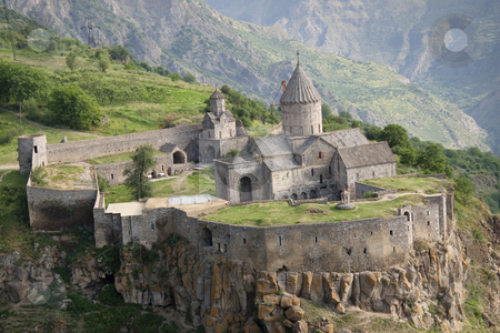 Aerial view on Tatev stock photo, Tatev monastyr in Armenia, Aerial view. Summer day by Tomasz Parys