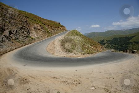 Turn in mountain stock photo, Small mountain route in Armenia. Danger turn by Tomasz Parys