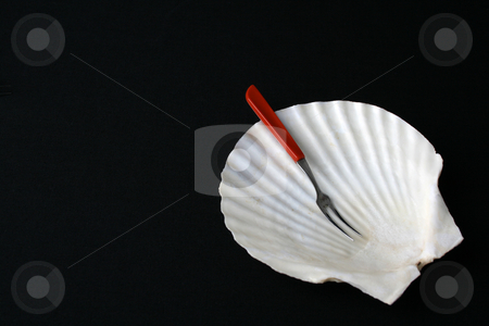Fancy Dish stock photo, Fancy shell shaped dish with fork for starters by Vanessa Van Rensburg