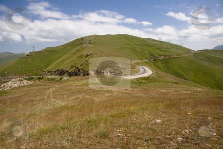 Mountain route stock photo, Summer day in Armenia, Mountain route blue sky. by Tomasz Parys