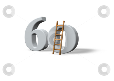 Sixty stock photo, The number sixty - 60 -  and a ladder on white background - 3d illustration by J?