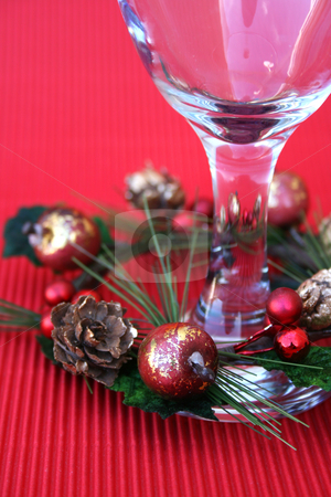 Wine Glass stock photo, Wine Glass with a wreath part of a Christmas table setting by Vanessa Van Rensburg