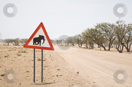 Caution: Elephants stock photo, Caution: Elephants! Road sign, Namibia, Africa by mdphot