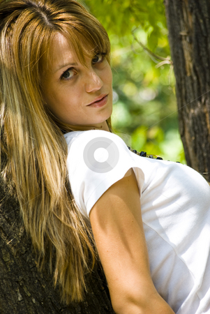 Happy young smiling woman stock photo, Portrait of beautiful young blond woman by Desislava Dimitrova