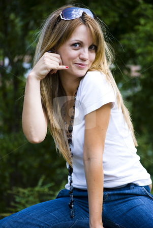 Call me stock photo, Young beautiful woman saying call me by Desislava Dimitrova