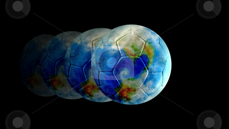 Fast Football World stock photo, This football earth has been kicked too hard! The world of football develops quickly... by Reinhart Eo