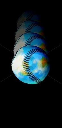 Catch it! Baseball Earth stock photo, Baseball world falls down after hit ... by Reinhart Eo