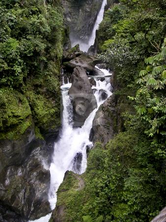 Waterfall in the Ecuador stock photo, A three stepped waterfall in the cloud forest of Ecuador, South America by Sharron Schiefelbein