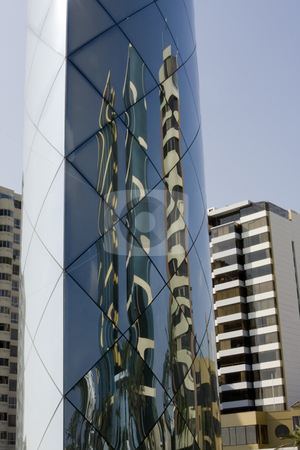 Reflective art of tall buildings in Lima Peru stock photo, Reflective art of tall buildings in Lima Peru by Sharron Schiefelbein