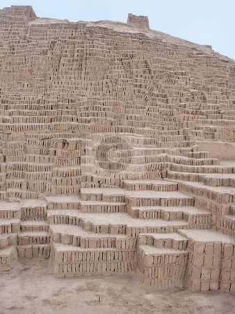Huaca Pucllana Pyramid in Lima Peru stock photo, Huaca Pucllana Pyramid in Lima Peru by Sharron Schiefelbein