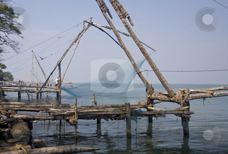 Chinese fishing nets found in Cochin, India stock photo, Chinese fishing nets found in Cochin, India by Sharron Schiefelbein