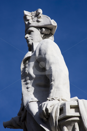 Captain cook stock photo, Close up of a stone staute of Captain Cook in Victoria Square, Christchurch New Zealand by Darren Pattterson