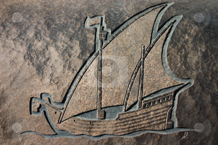 Engraved Ship stock photo, Carving of a boat at Cape Cross on the Skeleton Coast, Namibia, commemorating Diago Cao's discovery of Namibia by Darren Pattterson