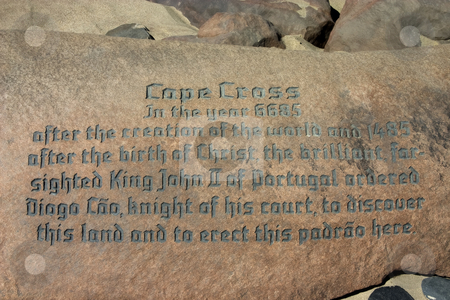Cape Cross stock photo, Inscription at Cape Cross on the Skeleton Coast, Namibia, commemorating Diago Cao's discovery of Namibia by Darren Pattterson