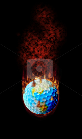 Burning Golf Ball Globe stock photo, Golf - Hottest topic on earth! by Reinhart Eo