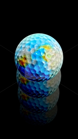 Golf Ball Earth rises after hit stock photo, This earth golf ball has been kicked too hard! The world of golf develops quickly... by Reinhart Eo