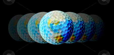 Golf - A Central Topic stock photo, All the world is golf, showing globes with two continents. by Reinhart Eo