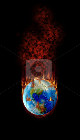 Football - Hottest topic on Earth stock photo, Burning football globe with fire, fume and flames! by Reinhart Eo