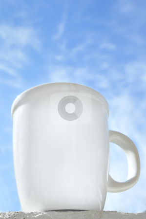 Good Morning Coffee stock photo, Coffee cup in front of a blue sky by Carmen Steiner