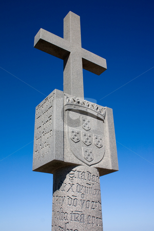 Stone Cross stock photo, Close up of a stone cross at Cape Cross Bay, Skeleton Coast Namibia by Darren Pattterson