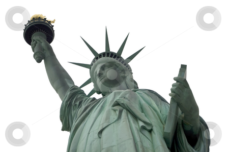 White Sky Statue of liberty  stock photo, Statue of liberty with a white sky background by Darren Pattterson