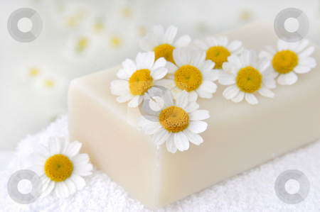 Soap with camomile flowers stock photo, Soap with camomile flowers in the bath by Carmen Steiner