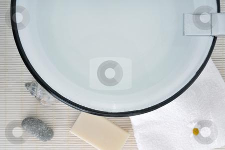 Wash basin stock photo, Retro wash basin in a modern bathroom by Carmen Steiner