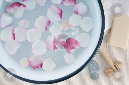 Luxus stock photo, Basin with water and roses by Carmen Steiner