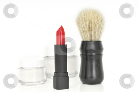 Lipstick and Shaving brush stock photo, Lipstick and Shaving brush in front of cream container by Carmen Steiner