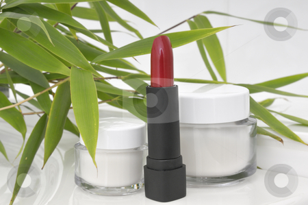 Lipstick and Cream stock photo, Lipstick and Cream Container with Bamboo by Carmen Steiner