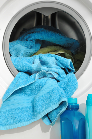 Laundry stock photo, Open washmaschine with towels by Carmen Steiner