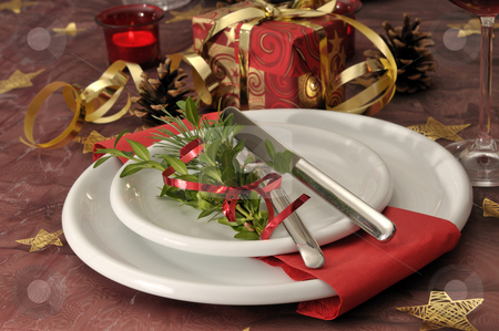 Christmas dinning table stock photo, Festive christmas dinning table by Carmen Steiner