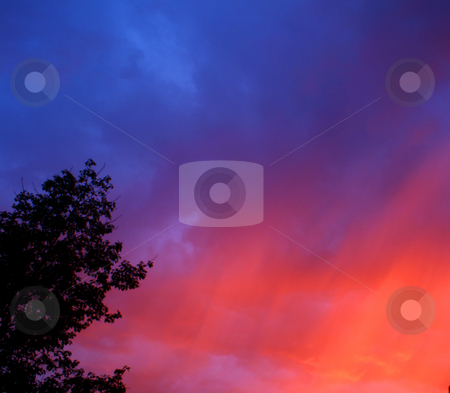 Color clouds. stock photo, Sky with many color clouds - blue, orange, red... by Rados?